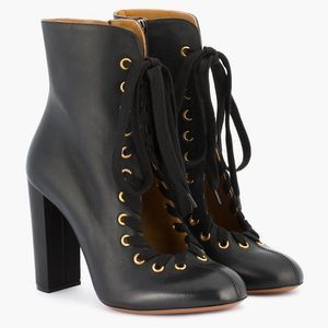 Chloé Black Leather Miles Lace Up Ankle Booties